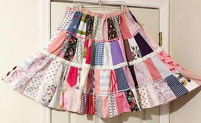 """New Square Dance Patchwork Skirt """"kiti"""" Pink,  Blue & White  Lace & Ric Rac 1X"""