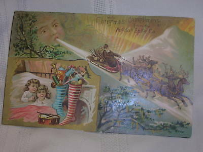 Vintage Victorian Trade Card Christmas Greeting From Woolson Spice Co.