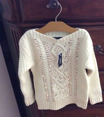 Girl's GAP KIDS Ivory Sequined Sweater Sequined  Size XS 4-5, NWT Reg. $45