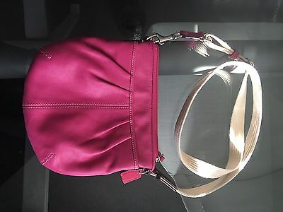 Hot Pink Leather Coach messenger bag/swing pack/cross body Authentic!