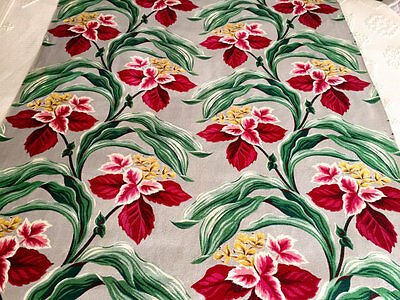 "RARE Antique Original 1930-40s Deco Design Hibiscus Flower Barkcloth Fabric 44""W"