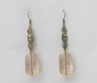 Art Deco Style Earrings Rectangular Champagne Pink Acrylic Crystal Dk Gold Plate