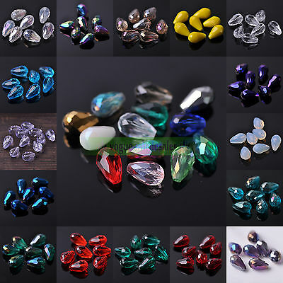 10X16mm Czech Glass Crystal Teardrop Faceted Loose Spacer Beads Jewelry Makings