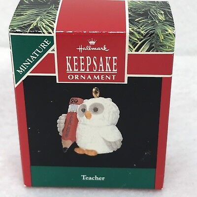 Hallmark Keepsake Ornament 1990 Teacher Owl Pencil