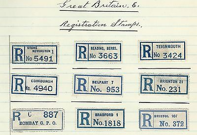 Great Britain - Registration Labels Lot #3 Edinburgh Belfast Bombay Bristol