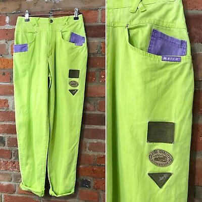 VINTAGE MOM JEANS HIGH WAISTED TAPERED 90s GREEN PURPLE (J77) W26-27 L30 SIZE 8