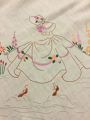 Vintage Irish Linen Hand Embroidered Tablecloth - Crinoline Ladies