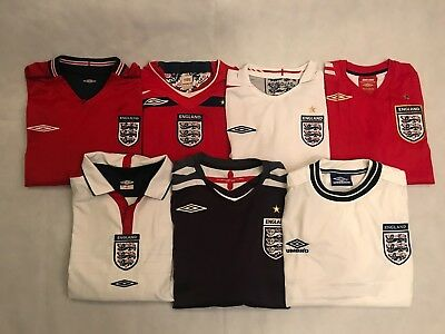 England Football Shirts, All Sizes, 2000's, World Cup, European Championships.