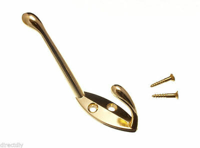 12 X Hat And Coat Robe Hanger Hook & Screws Brass Chrome Nickel And White Finish