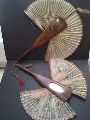 Antique Sorrento ware. Two Mirrored Flirting Fans.