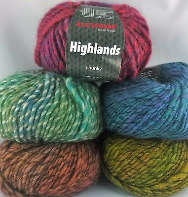 100g=9,00€, Austermann, Highlands, chunky, Wolle, Garn, Winter, stricken,