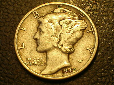 1942-D  Mercury Dime  Better Grade, Silver .900, Free Shipping,  Lot #1031206