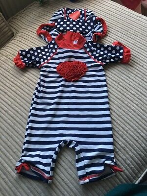 Baby Girl Swimsuit With Hat 9-12 Months