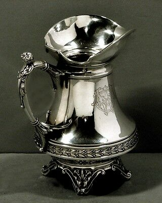 Wood Hughes Sterling Pitcher  c1850          MAIDEN BODY HANDLE