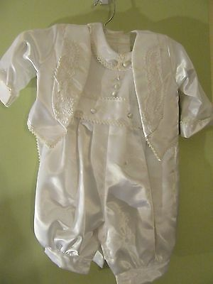 Boys White Christening Baptism Outfit Romper Jacket W/ tales hat Size L