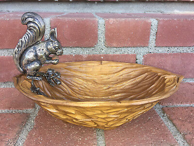 VTG Hand Carved Wooden Walnut Shaped Nut Dish Serving Bowl SilverPlated Squirrel