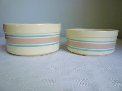Set 2 Mccoy # 0142 & 0143 Pink & Blue Stripe Bowls - Round With Straight Sides