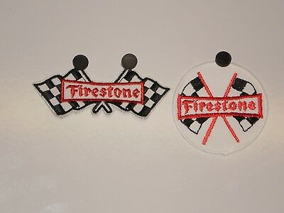2 Firestone Tire Flag Patches NOS