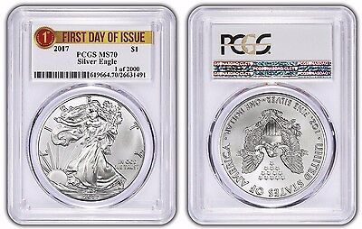 """2017 PCGS MS70 Silver Eagle ASE """"FIRST DAY ISSUE, 1 of 2000"""" LABEL"""
