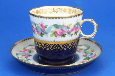 Antique SEVRES c1860 Hand Painted CABINET Cup & Saucer PINK ROSES & BLUE RIBBONS