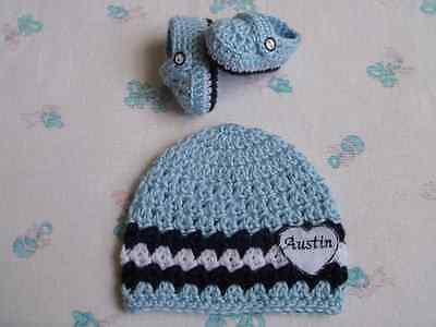 a470799b266da NEW HANDMADE PERSONALIZED crochet baby hat and booties (0-3 months, 3-6  months)