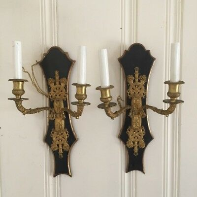EXQUISITE Pair of Vintage French Brass Ormolu 2 Arm Light Electric Wall Sconces