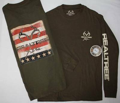 NEW Mens Long Sleeve 2 Sided Graphic T-Shirt Large Top RealTree Xtra Flag Green