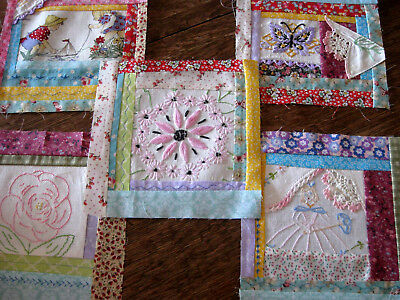 5 QUILT BLOCKS Pieces of Vintage Linens Used & Pretty Fabrics