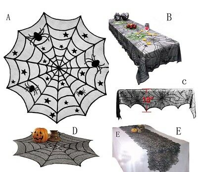 Black Halloween Props Decoration Spider Curtain Door Table Runner Lace Cobweb