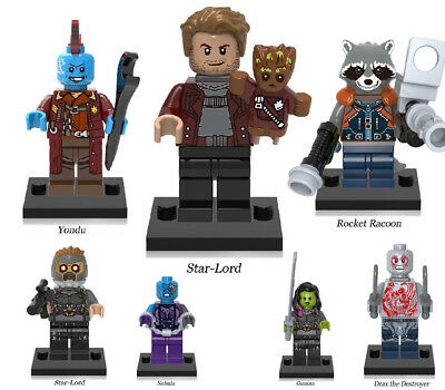 Star-Lord Guardians of Galaxy Gamora Drax Yondu Groot Rocket Lego Mini Figures