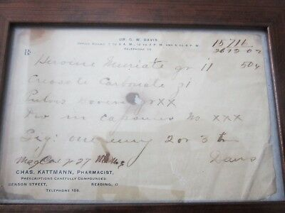 Framed ~ HEROIN PRESCRIPTION ~ Cincinnati Pharmacy Apothecary not bottle