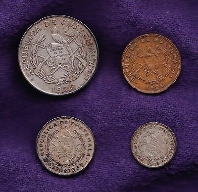 Lot of 4 Guatemala Coins: Silver 1929 ¼ Quetzal, 1933 5/10 Centavos + 1929 Cent