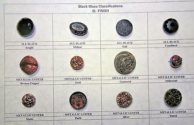 Antique Buttons12 Black Glass w/Examples of Finishes Sizes 22mm to 13mm