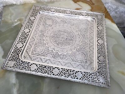 VTG ANTIQUE HAND MADE PERSIAN SOLID 84 SILVER TRAY W AMAZING HAND CARVED 755.5 g