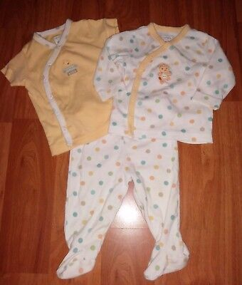 Infant Unisex Carter's 3 Piece Pajama Set Yellow Polka Dots Ducks 3 Months