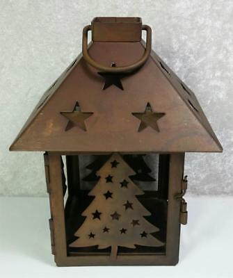 Christmas Tree Lantern Tea Light Candle Holder Rusty Bronze Color With Hanger