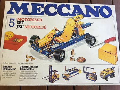 VINTAGE MECCANO No.5 MOTORISED SET in original box with booklets