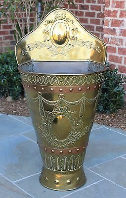 Antique English Brass & Copper Umbrella Stand Basket Planter Jardiniere LARGE