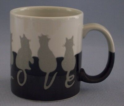 Otagiri Cat Cup Mug Tails Spells Out Love Black Grey Silhouette Japan 12 oz