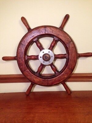 "Vintage Wooden Ships Wheel 24"" Authentic Wheel"