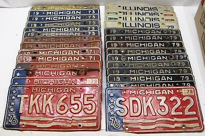 Lot of 28 Vintage License Plates 24 Michigan & 4 Illinois: 1970's