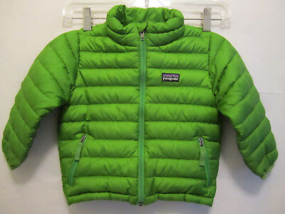 Patagonia Toddler Down Filled Green Puffy Jacket Zip Front Boys Girls 2T