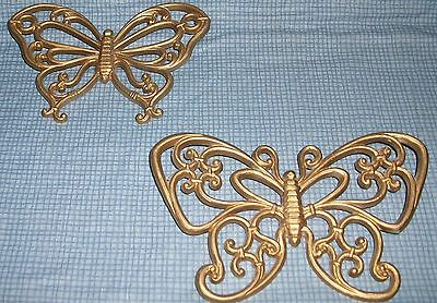 Home Interior Butterflies Wall Accent Plaque HOMCO LOT vintage Set 2