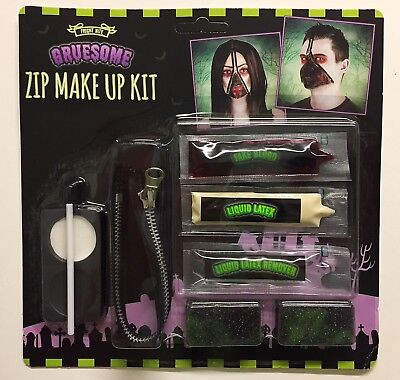 HALLOWEEN Horror Blood Zip zipper make up kit Face paint SCARY EASY TO DO ZOMBIE