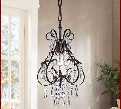SMALL CRYSTAL CHANDELIER 1 Light Ceiling Antique Bronze Fixture Dining Room NEW!