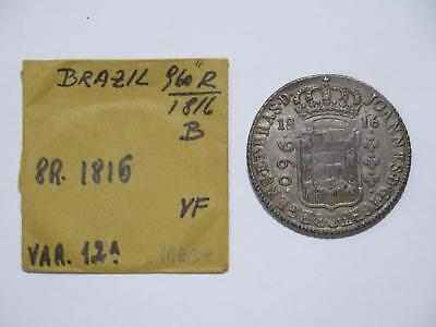 Brazil 1816 B 960 Reis Struck Over 8 Reales Ex:kurt Prober Old Coin Collection T
