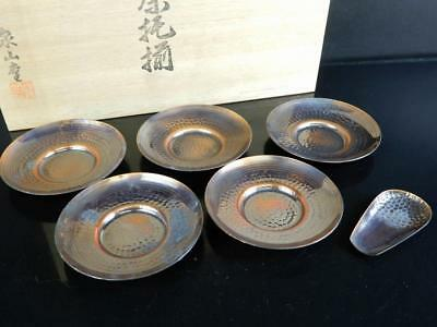 H5260: Japanese Copper TEA CUP TRAY Saucer Chataku 5pcs, Teaspoon w/signed box