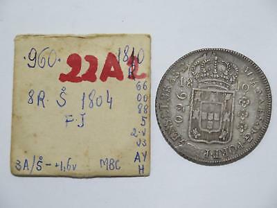 Brazil 1810 R 960 Reis Over/ 1804 Chile 8 Reales Ex:kurt Prober Coin Collection