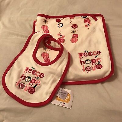 NWT Gymboree Newborn Essentials Penguin Peace Hope Love Blanket And Bib