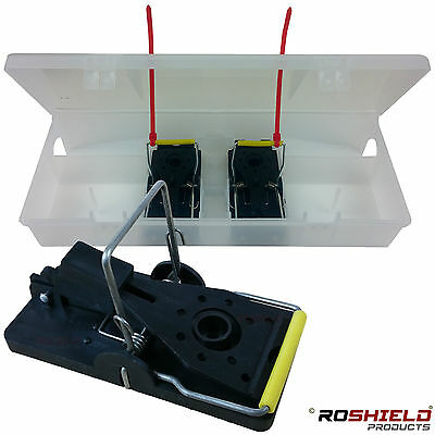6 x Roshield Duo+ Mouse Kill Snap Trap & Box Holder - Child & Pet Safe Design